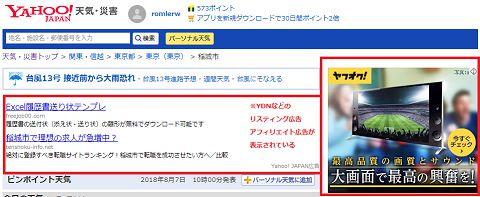 Yahoo!広告が表示される例